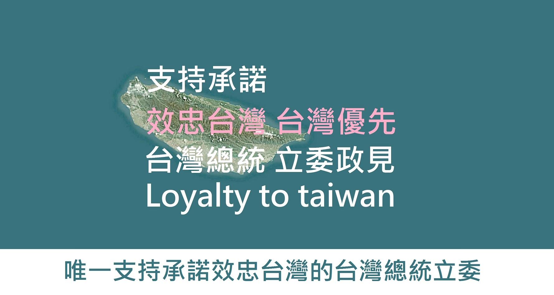 支持承諾 效忠台灣台灣優先的台灣總統立委政見 loyalty to taiwan